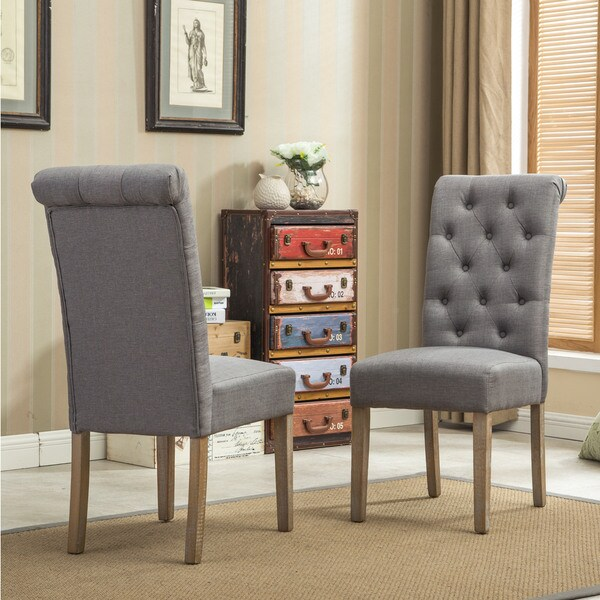 christopher knight club chair slip cover and ottoman habit solid wood tufted parsons dining (set of 2) - free shipping today overstock.com ...