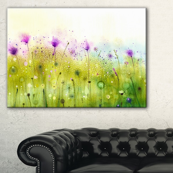 Shop Green Purple Abstract Cosmos Of Flowers Large Flower Canvas ...