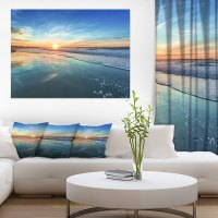 Blue Seashore with Distant Sunset - Seashore Canvas Wall ...