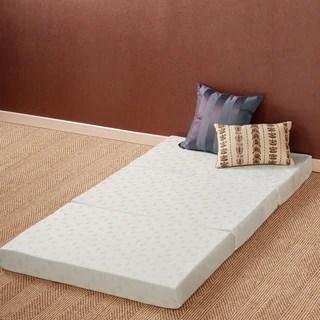 Priage 4 Inch Twin Size Tri Fold Comfort Memory Foam Mat
