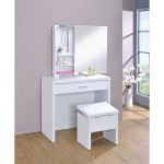 2 Piece Vanity Set With Hidden Mirror Storage And Lift Top Stool White On Sale Overstock 12225006