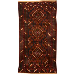 Handmade Herat Oriental Afghan Tribal Balouchi Wool Area Rug (Afghanistan) - 3'7 x 6'7