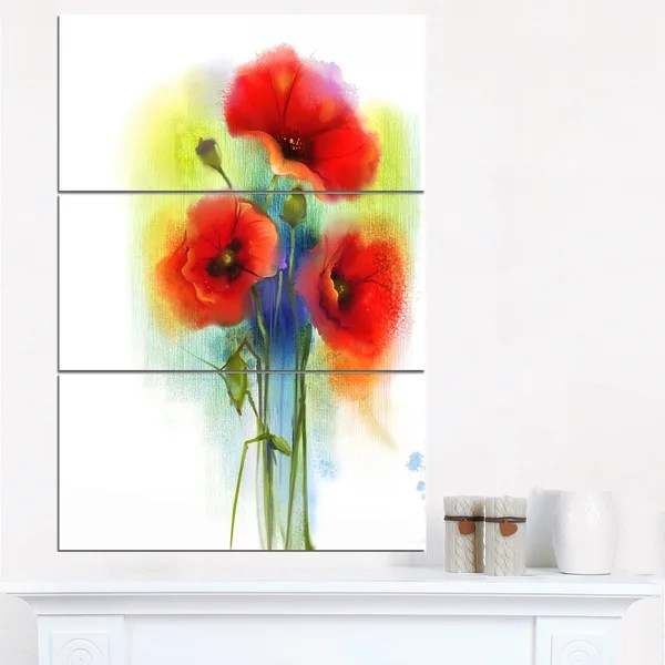 Shop Bunch Of Bright Red Poppy Flowers Large Flower Canvas Wall ...
