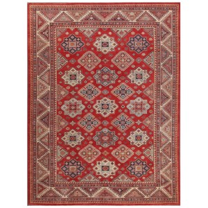 Pasargad Tribal Kazak Hand-knotted Rust and Ivory Wool Geometric Area Rug (10' x 14')
