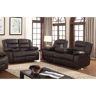 abbyson living rocking chair swivel dfs gloria faux-leather 3-piece room sofa set - free shipping today overstock.com 19149259