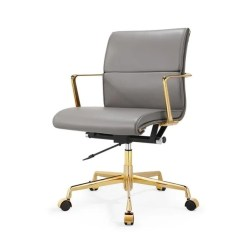 Office Chair Gold Patio Table And Chairs Sets Shop M347 Grey Italian Leather Swivel On Sale Free Shipping Today Overstock Com 12350874