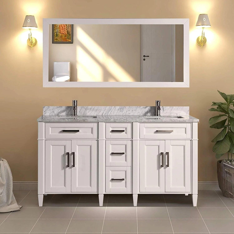 Shop Vanity Art 60 Inch Double Sink Bathroom Vanity Set Carrara Marble Stone Top Soft Closing Doors Undermount Sink With Free Mirror Overstock 12364442
