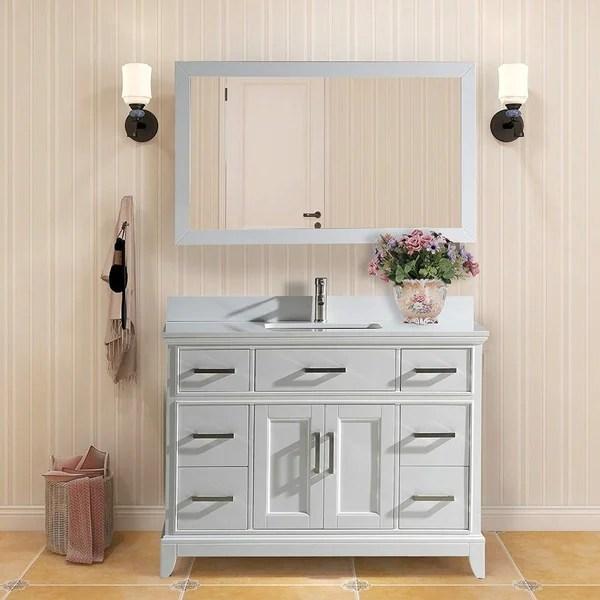 Shop Vanity Art 48 Single Sink Bathroom Vanity Set Phoenix Stone Top 7 Drawers 1 Shelf Undermount Sink Vanity Cabinet With Mirror Overstock 12364460