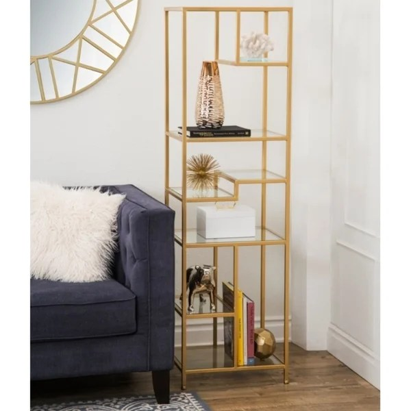 living room glass shelves ideas with dark leather sofa shop abbyson rowley gold book shelf on sale free shipping today overstock com 12368583