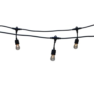 Clear 48-foot Long Vintage-style Heavy-duty Metro 14-gauge Indoor/Outdoor 24-light Set with 2 Feet Separating Bulbs