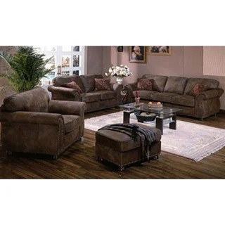 microfiber living room furniture sets small with fireplace design ideas shop porter elk river faux suede leather set roll arms and nailhead trim optional ottoman free shipping today overstock