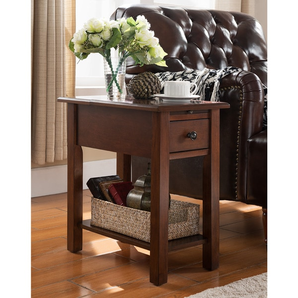 rattan side tables living room how to decorate a long rectangular sutton table with charging station in espresso - free ...