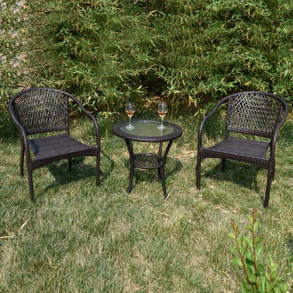 wicker patio chair set of 2 steel in construction shop brown simple chairs free shipping