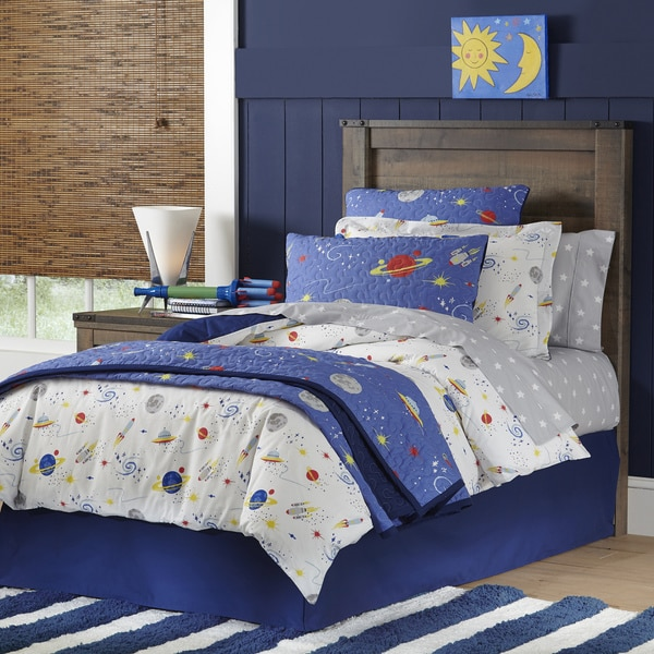 lullaby bedding space collection cotton printed 4 piece comforter set