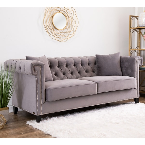velvet grey tufted sofa craftmaster warranty shop abbyson victoria on sale ships to