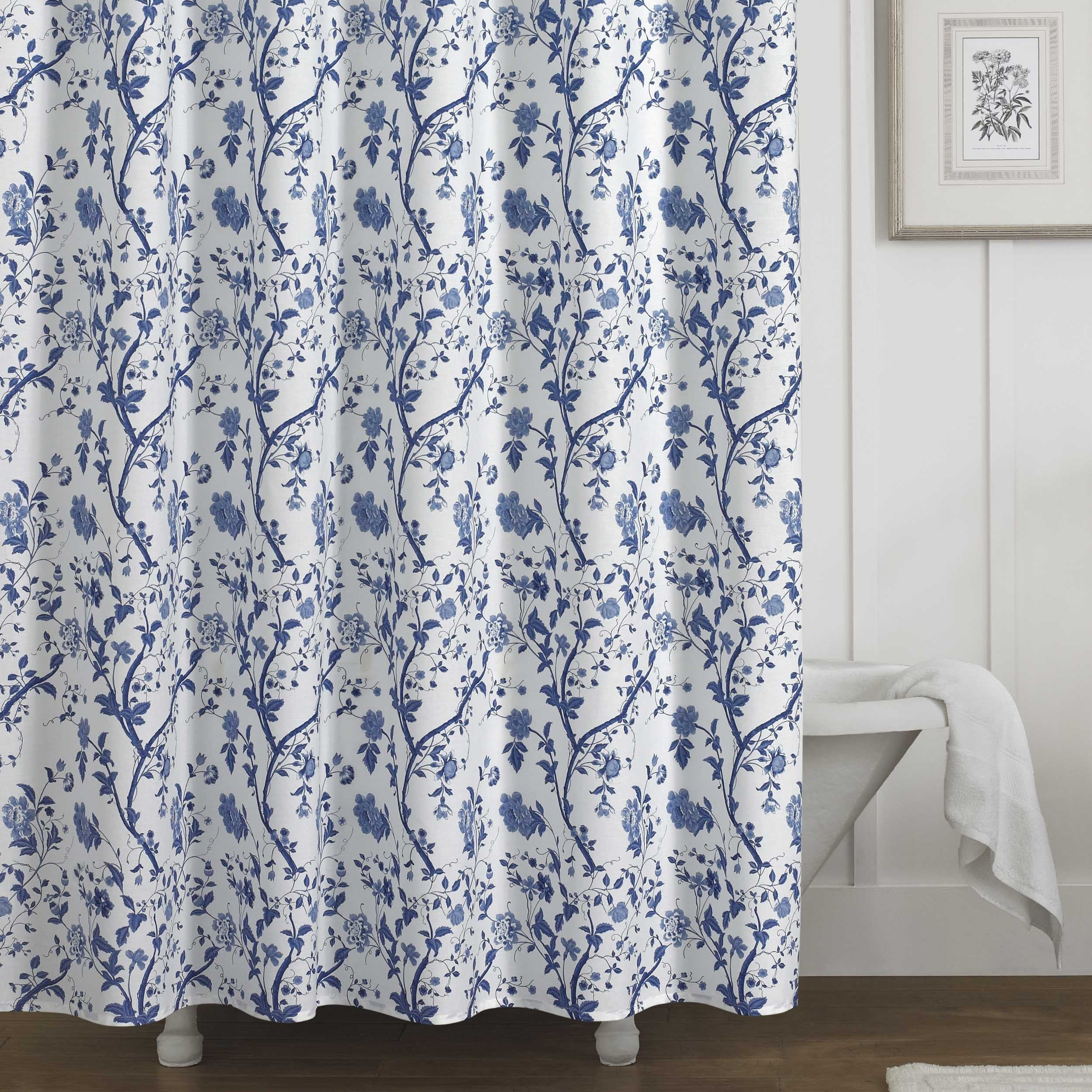 Laura Ashley Charlotte Blue And White Floral Cotton Shower Curtain 72 X 72