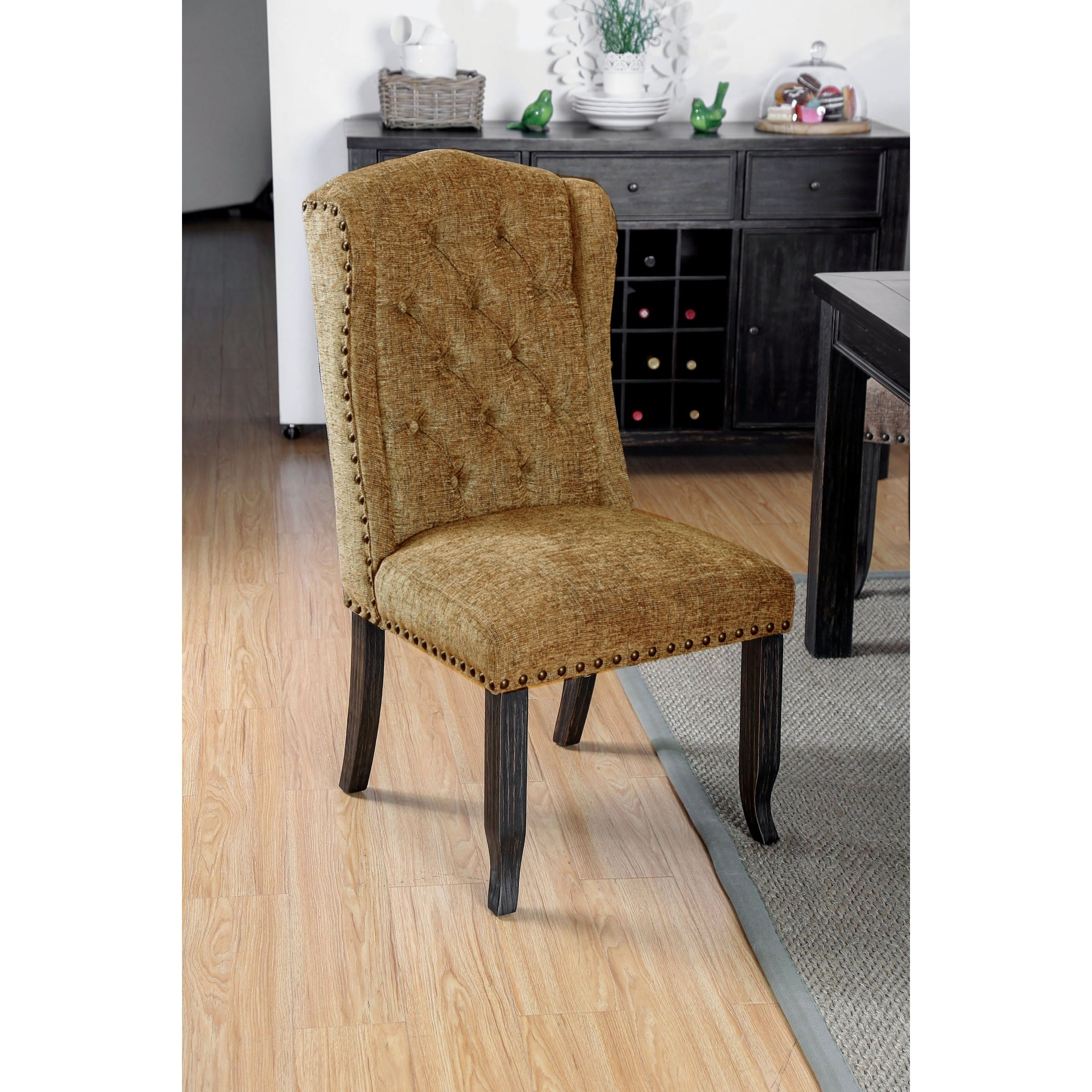 tufted wingback dining chair kids lawn chairs flash deals find the best daily on overstock