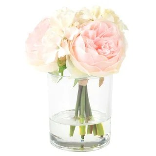 floor vases for living room singapore contempory buy artificial plants online at overstock com our best decorative pure garden hydrangea and rose floral arrangement pink cream
