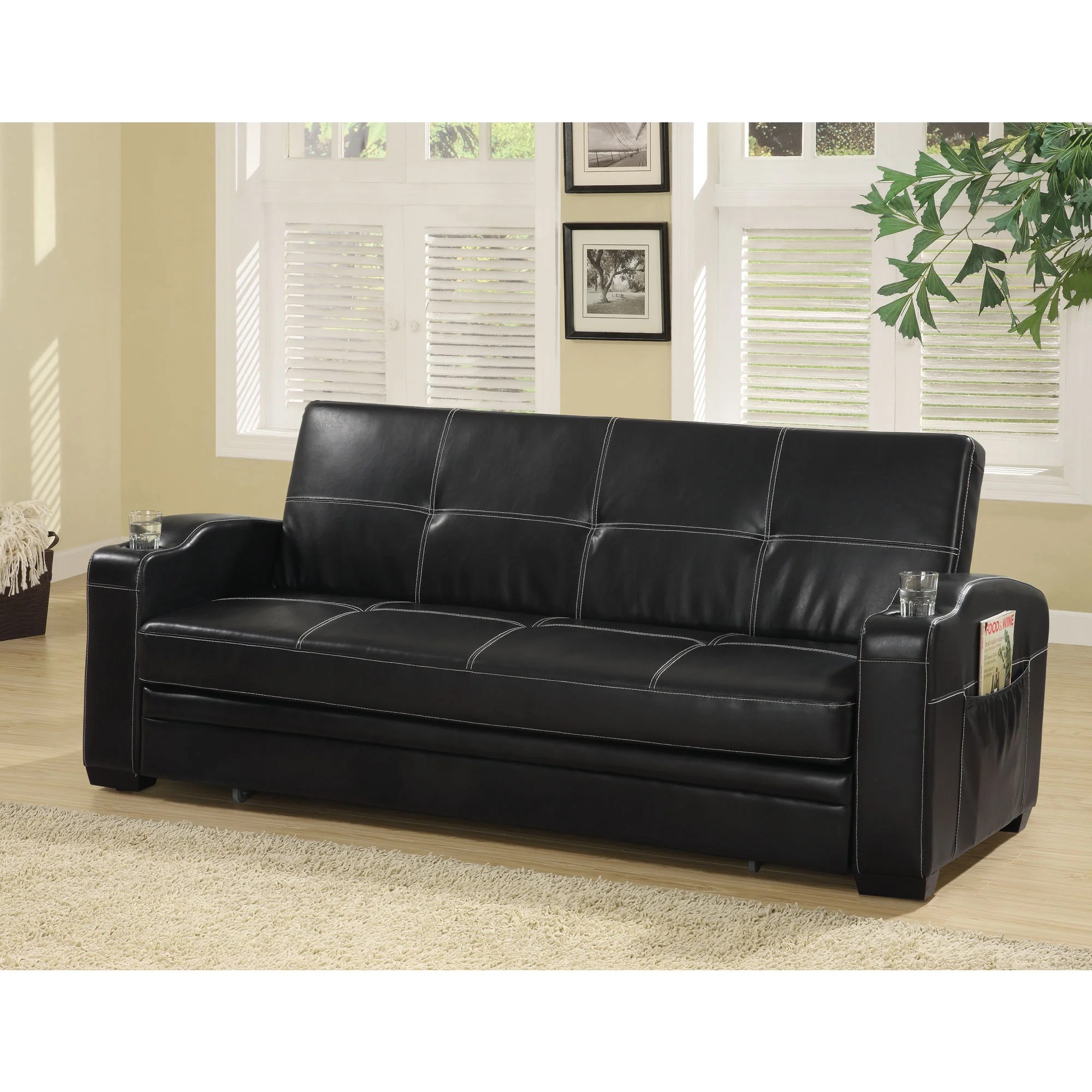 black vinyl futon sofa tufted scroll arm 20 best ideas sofas