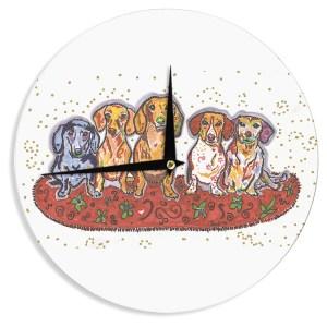 KESS InHouse Rebecca Fischer 'Maksim Murray Enzo Ruby & Willy' Daschunds Wall Clock