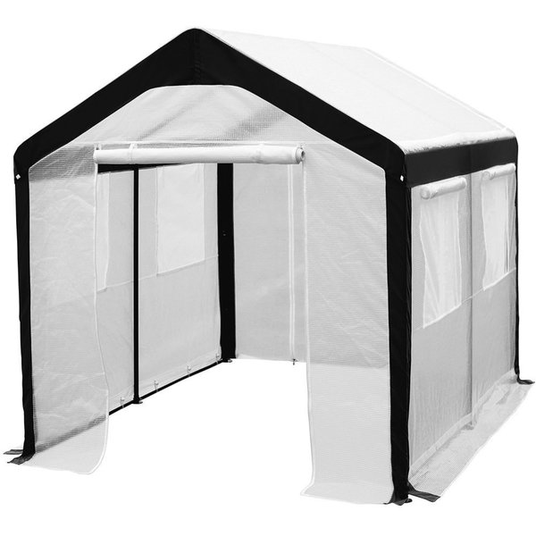 Shop Abba Patio White Steel Enclosed Greenhouse With Windows Free Shipping Today Overstock
