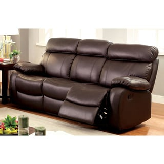 futura leather and vinyl power reclining sofa with headrest in stone best wooden chennai recliner furniture for less overstock com of america gausten transitional brown