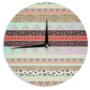 KESS InHouse Vasare Nar 'Animal Print Tribal' Multicolor Pastel Wall Clock