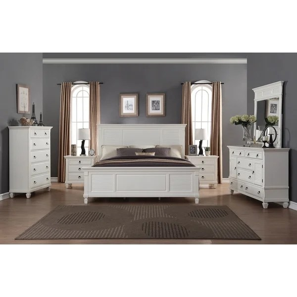 white king bedroom furniture sets Shop Regitina White 6-Piece King-size Bedroom Furniture Set - Free Shipping Today - Overstock