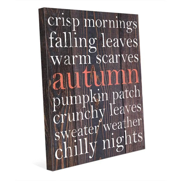 red autumn canvas word