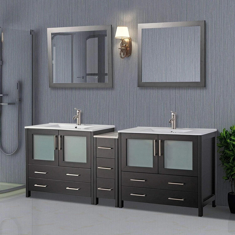 Shop Vanity Art 84 Inch Double Sink Bathroom Vanity Set 7 Drawers 3 Cabinets 2 Shelves Soft Closing Doors With Free Mirror Overstock 12609926
