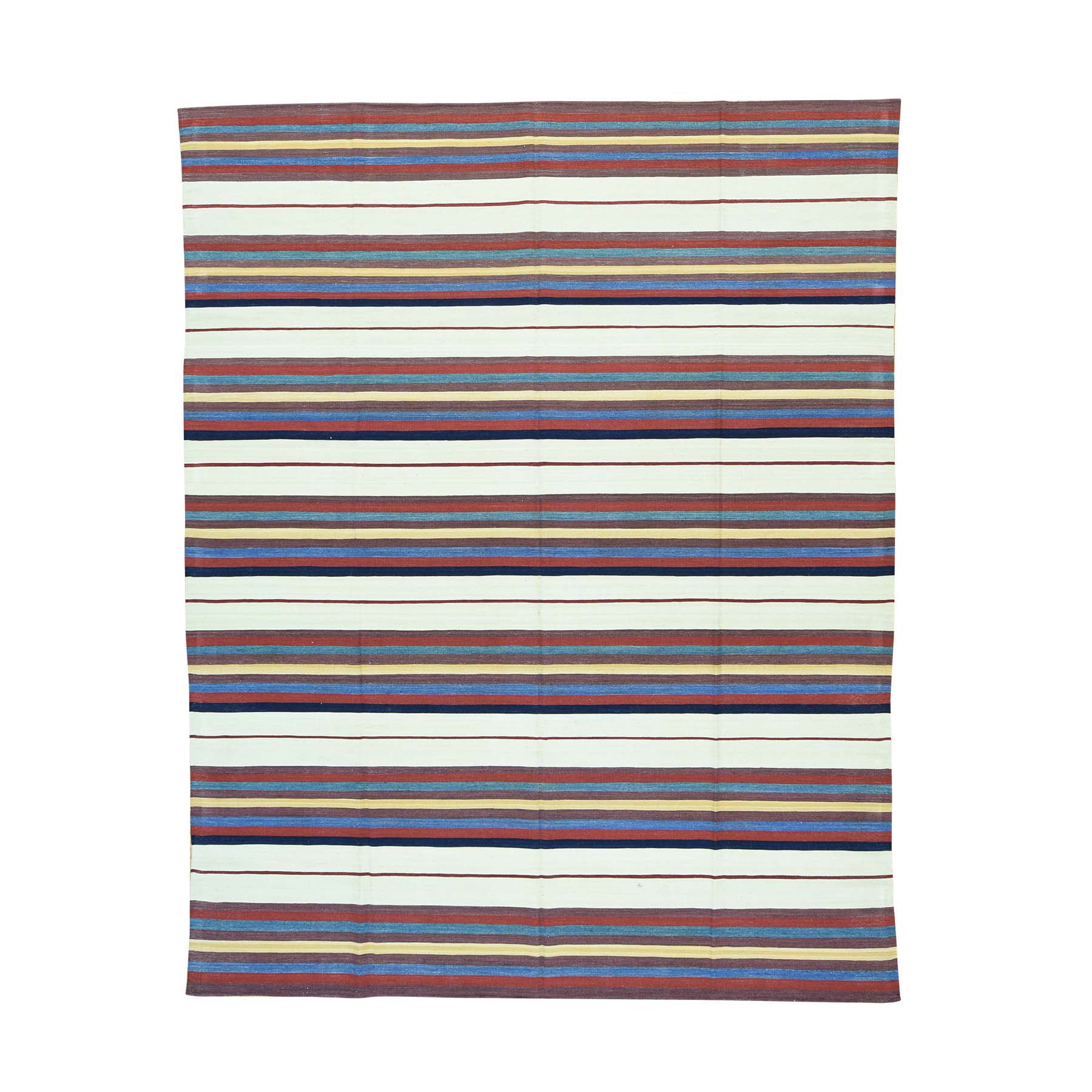 Qashqai Oriental Multicolor Wool Striped Flatweave Hand-woven Kilim Area Rug (8'3 x10'4) - Multi