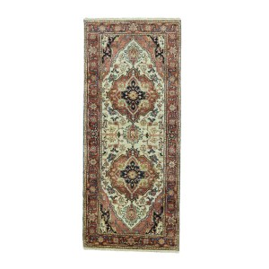 Heriz Red Wool Hand-knotted Antiqued Recreation Runner Rug (2'7 x6'1)