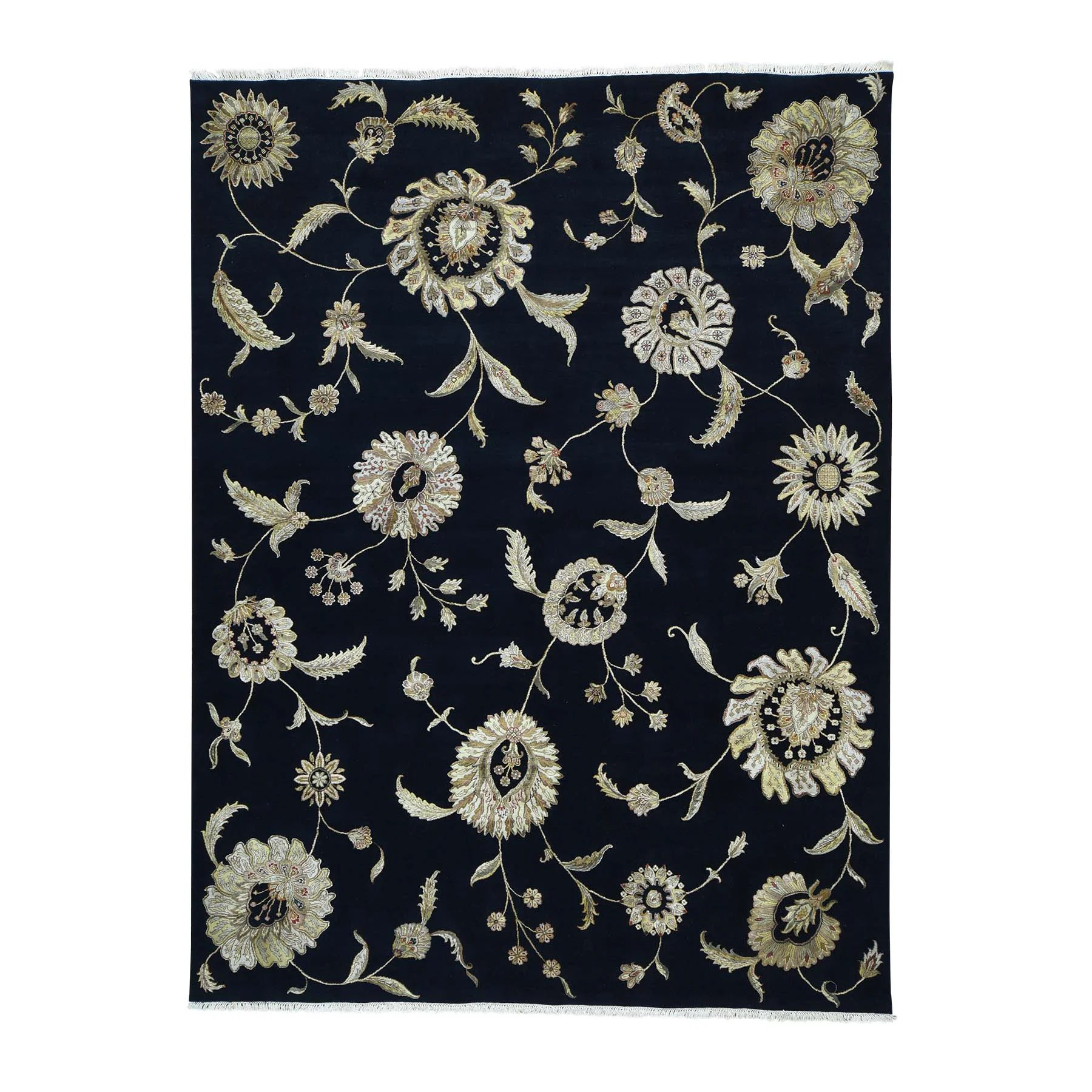 Shahbanu Rugs Black Modern Transitional Wool/ Silk Area Rug