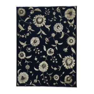 Shahbanu Rugs Black Modern Transitional Wool/ Silk Area Rug