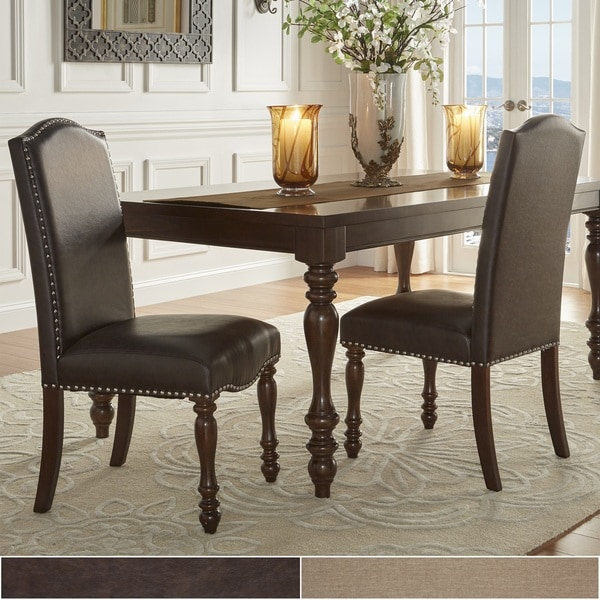 nailhead upholstered dining chair 30 stand norms shop parisian chairs set of 2 by inspire q classic