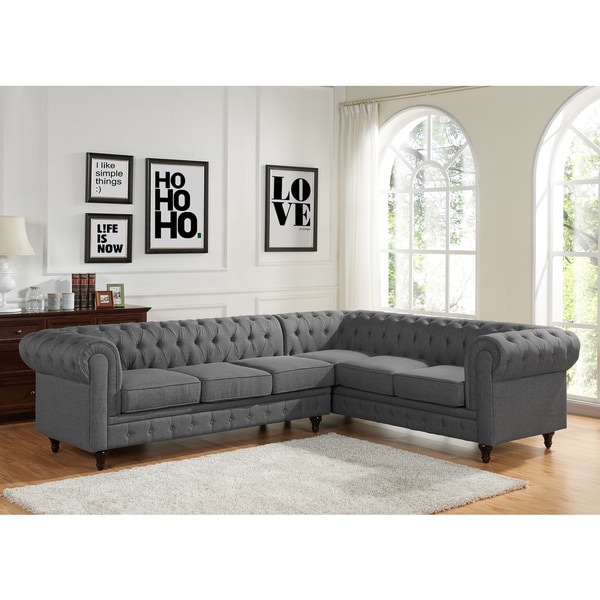 left arm sofa sectional sleeper walmart shop sophia modern style tufted rolled facing ...