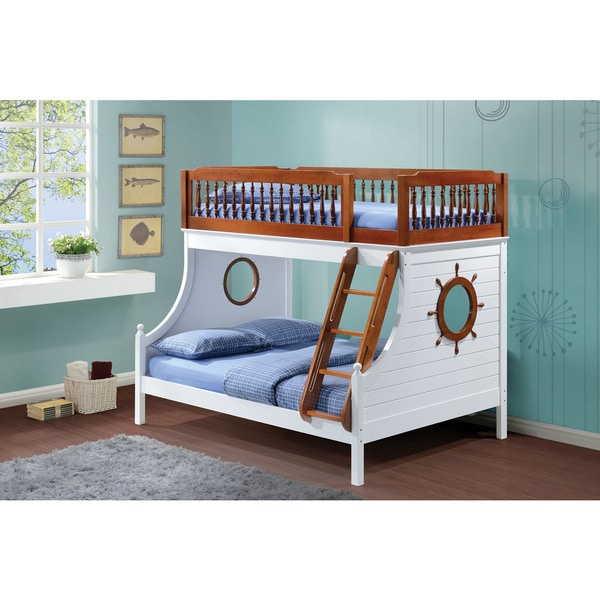 farah youth twin over full sailor bunk bed oak white