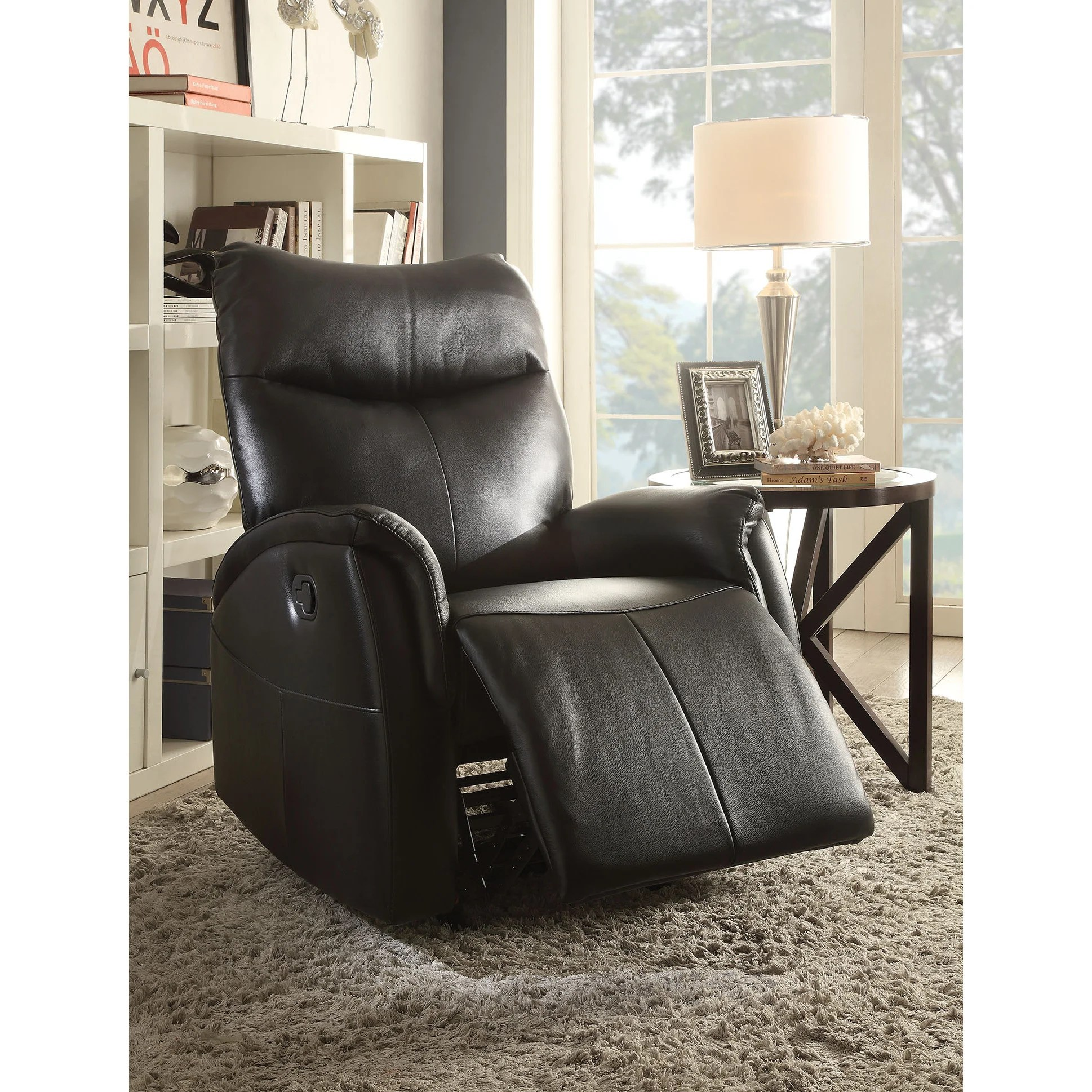 modern black leather recliner chair swivel tonaton rocker arm living room
