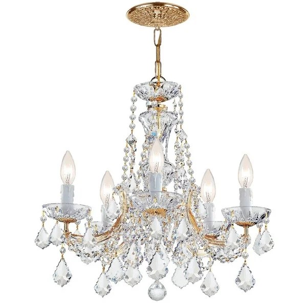 Crystorama Maria Theresa Collection 5 Light Gold Swarovski Strass Crystal Chandelier