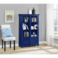 Ameriwood Home Aaron Lane Navy Bookcase with Sliding Glass ...