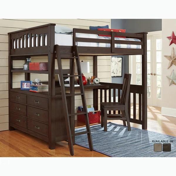 Shop Highlands Collection Espresso Full Loft Bed With Desk