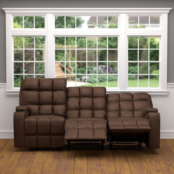 abbyson leather sofa reviews minneapolis mn prolounger brown microfiber wall hugger storage 3 seat ...