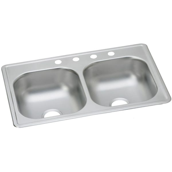 33x19 kitchen sink best quality cabinets shop elkay dayton stainless steel 33 x 19 8 equal double bowl