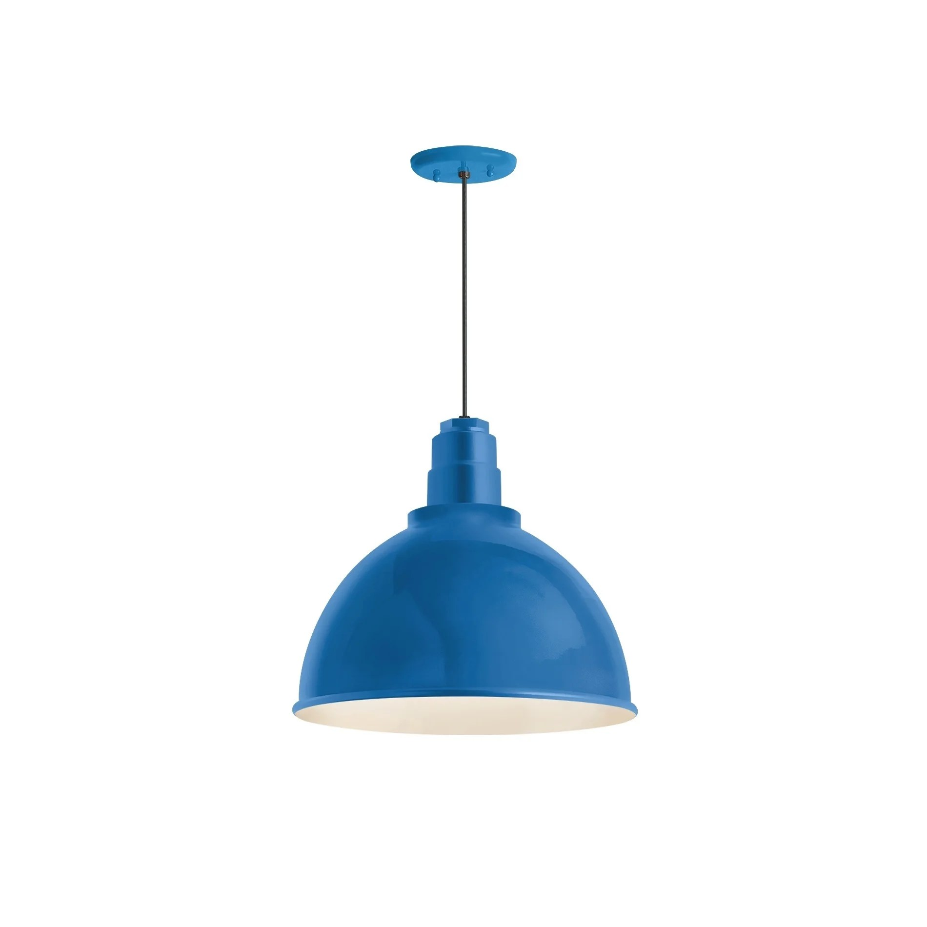 Troy RLM Lighting Deep Reflector Blue Pendant, 12 inch Shade