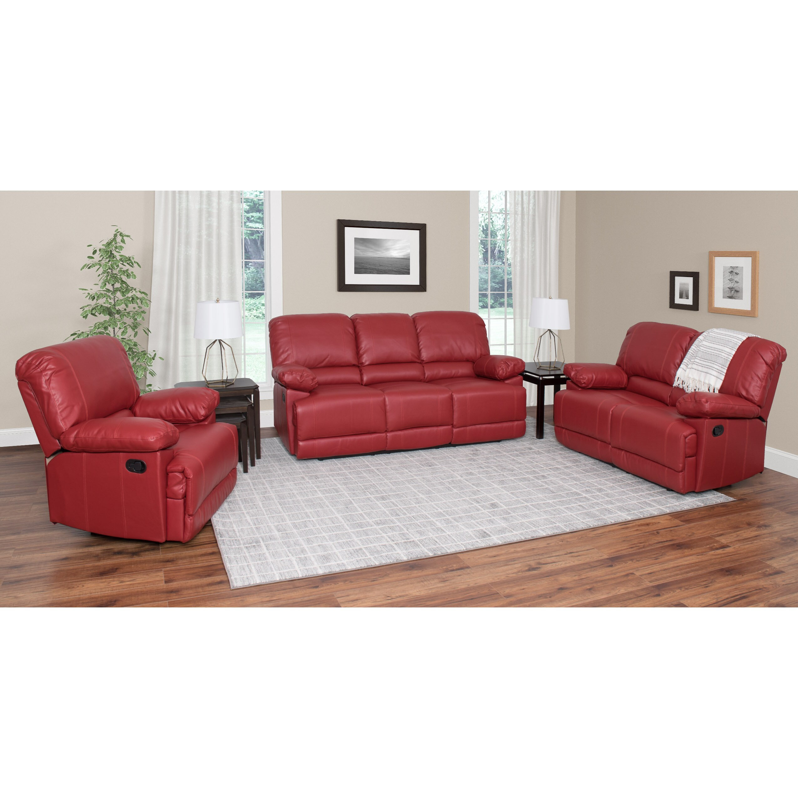 bonded leather reclining sofa set sofas you love santa barbara ca corliving lea 3 piece ebay