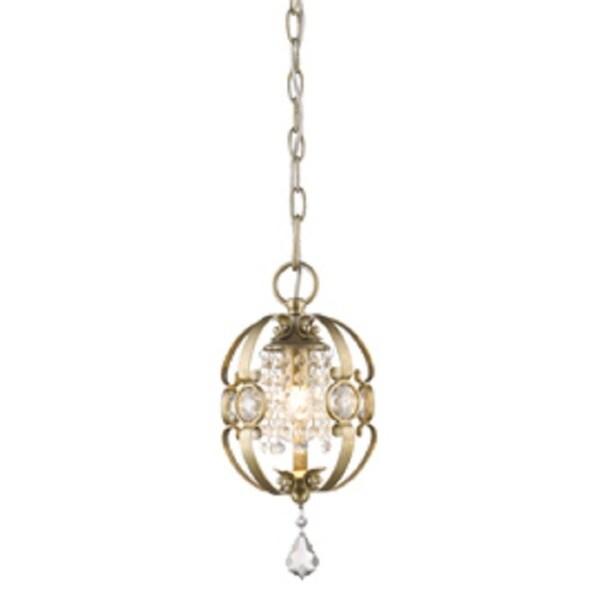 Jeweled Golden Bronze Mini Pendant Light
