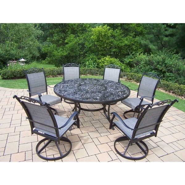 outdoor swivel rocker chair 2 accent chairs shop aluminum 7 piece patio dining set with