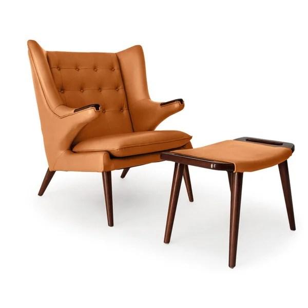 leather wingback chairs canada desk chair warmer shop kardiel wegner style papa bear walnut and ottoman
