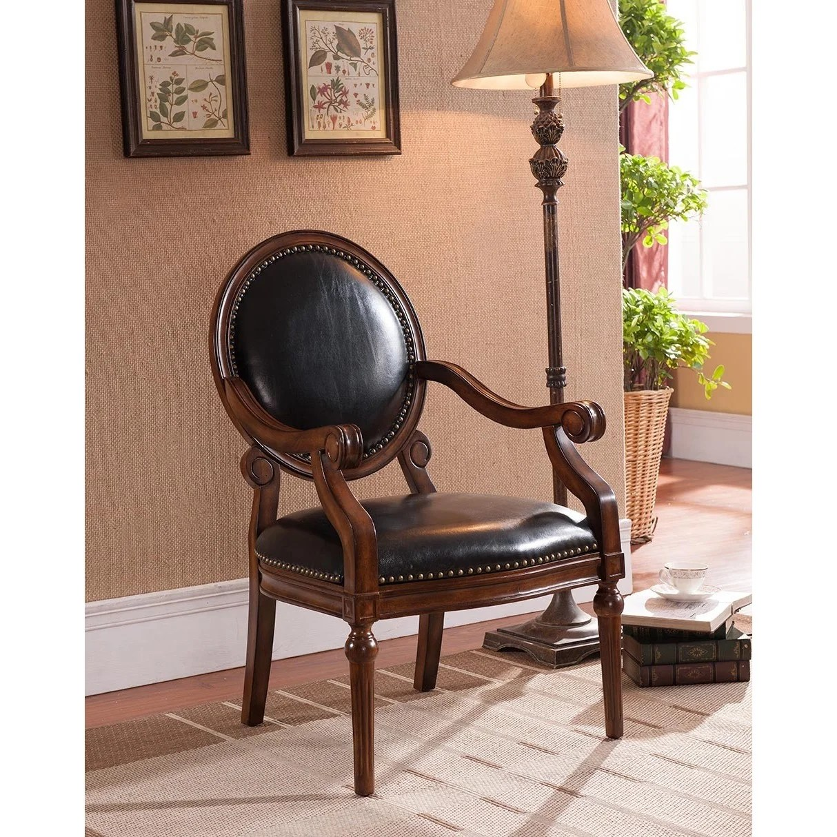 black leather accent chairs back support chair for bed best master furniture brown wood arm