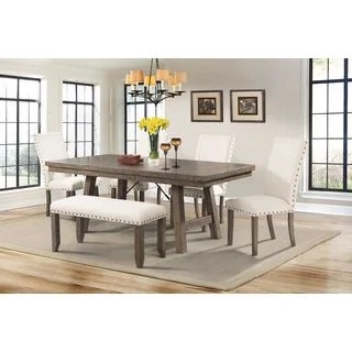 dining set with bench and chairs chair covers sure fit shop picket house dex 6 piece table free shipping today overstock com 12809106